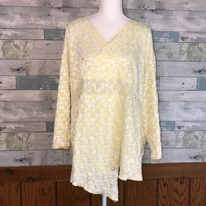 Dress barn butter yellow crocheted daisy top #254